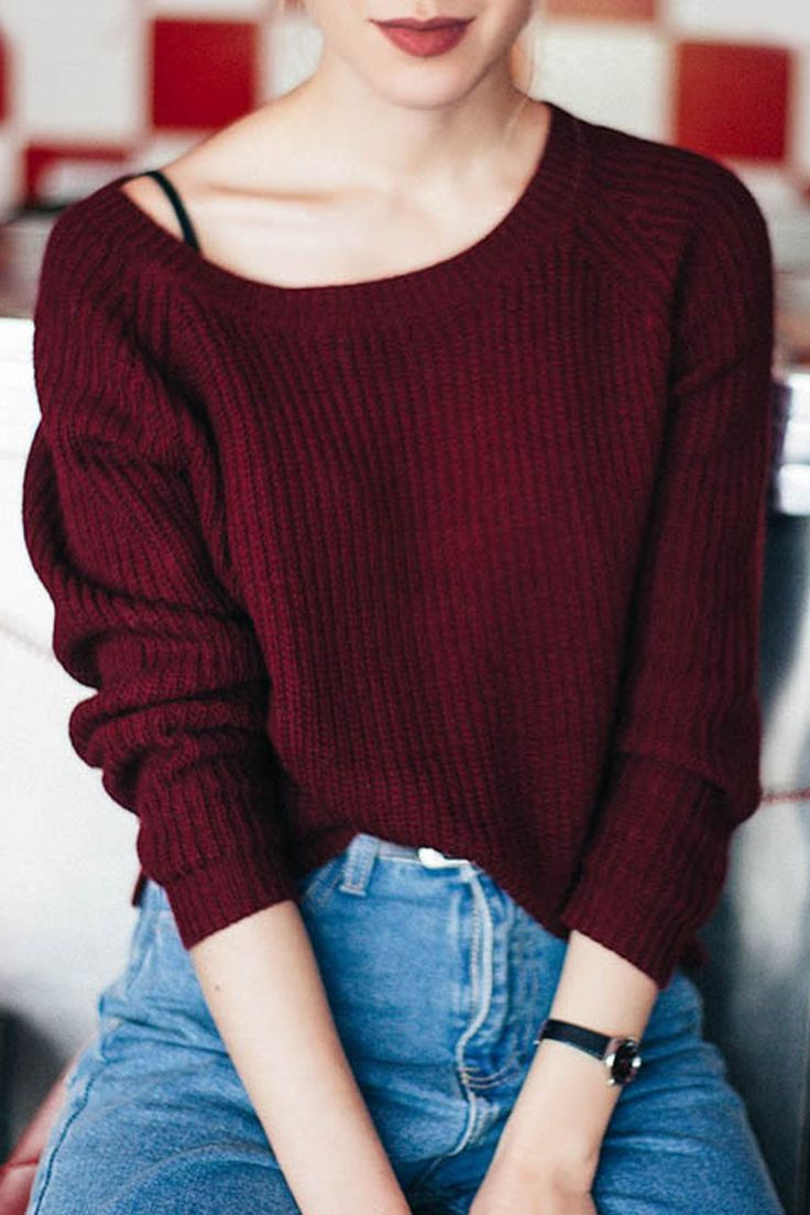 Boat Neck Loose Sweater WINE RED: Sweaters | ZAFUL