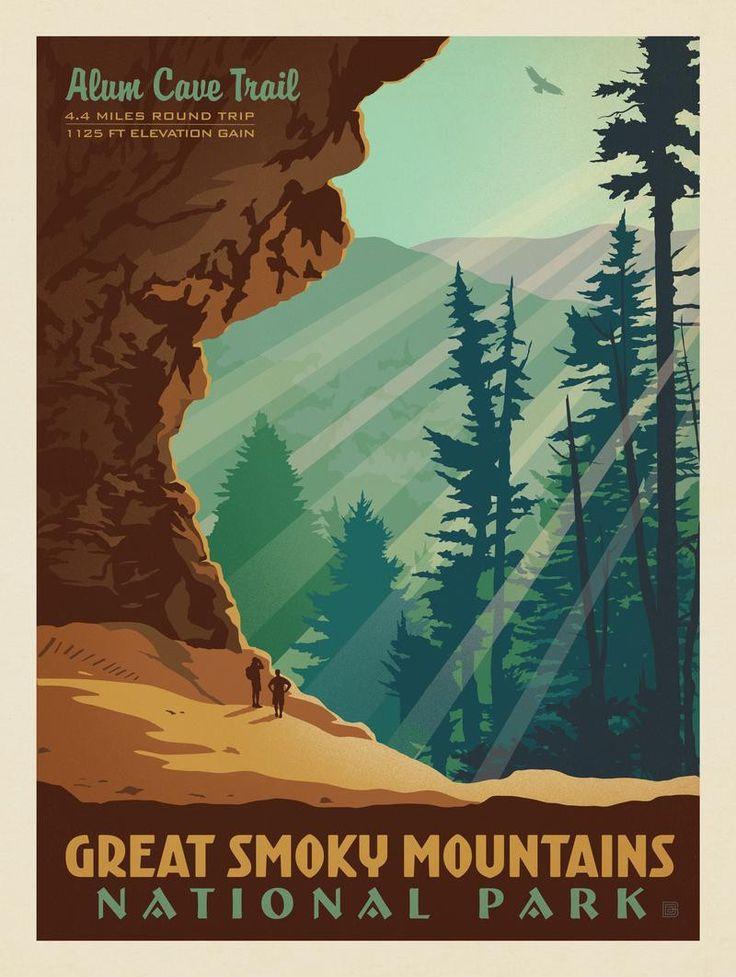 Vintage National Park Posters Part - 25: Anderson Design Group U2013 American National Parks U2013 Great Smoky Mountains National  Park: Alum Cave