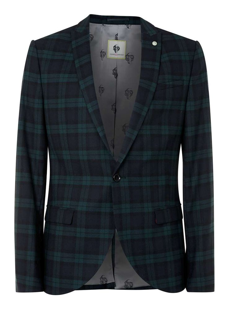 NOOSE & MONKEY Green and Blue Check Suit Jacket - Men's Blazers - Clothing - TOPMAN USA