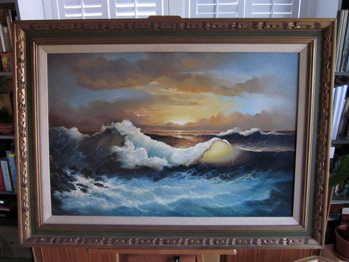 Vintage Original Oil Painting Seascape Signed Andres