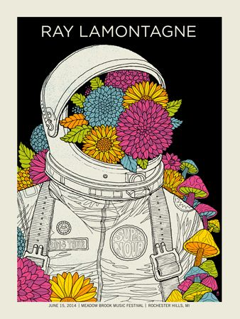 Ray Lamontagne 2014 concert poster by Methane Studios