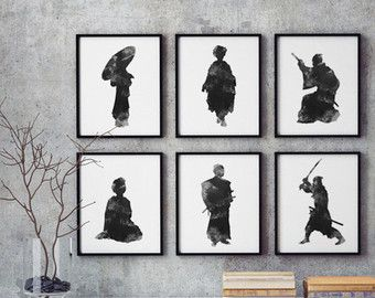 Japanse kunst-Set van 6, Geisha Art Print vrouw silhouet, Samurai zwart-wit afbeelding, grijze muur Decor, Abstract schilderij Warrior