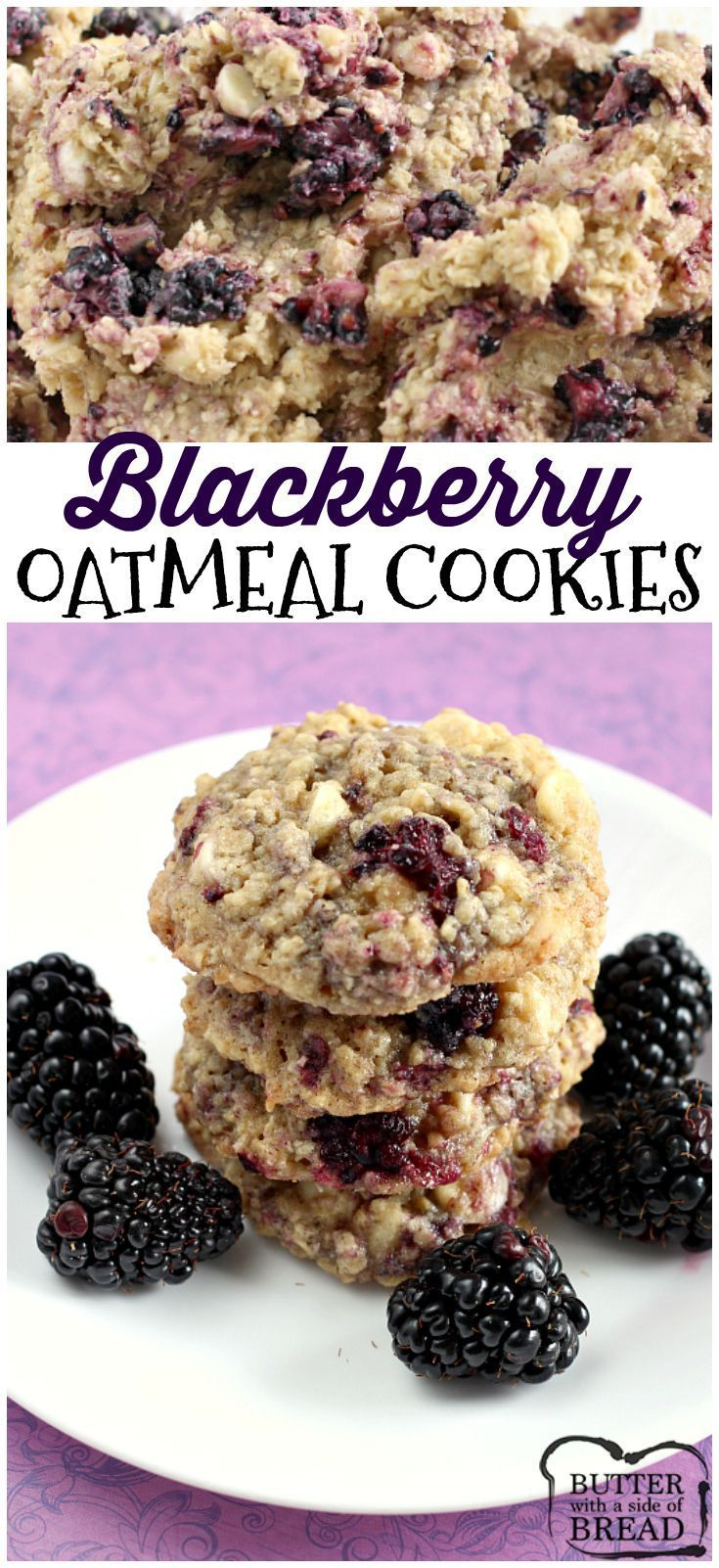 These Blackberry Oatmeal Cookies are absolutely amazing! The cookies are soft and chewy and the fresh blackberries add the most delicious flavor! Easy cookie recipe from Butter With A Side of Bread via /ButterGirls/