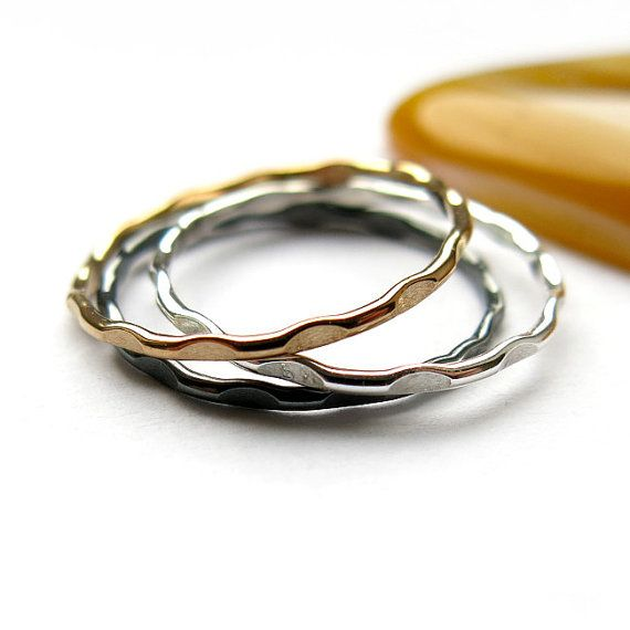 #Stacking #ring hammered round 1mm by #ajjstudios on #Etsy