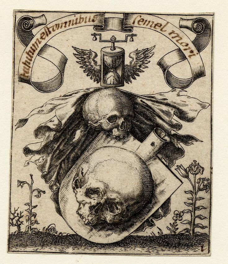 Heraldic device with a skull; with other vanitas iconography: an hourglass; at l are withered plants and at r a flower in full blossom Engraving