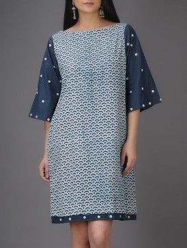 Ivory-Indigo Natural-dyed Bagru-printed Cotton Dress
