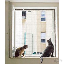 Fenstersicherung für Katzen mit einem Netzrahmen - standard