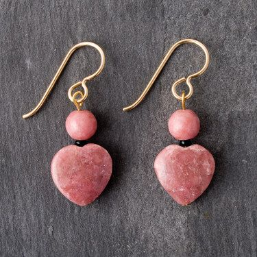 Roxy Gemstones Pink Gemstone Earrings - Hearts