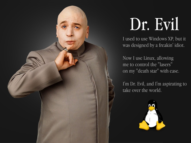 austin powers dr evil uses linux lmao pinterest