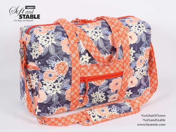 DIY Get Out of Town travel duffle bag. Perfect size for weekend trips. Lots of pockets and zippered pockets. The Get Out of Town bag pattern using ByAnnie's Soft and Stable; a beautiful handmade sewing project