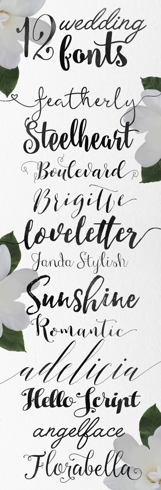 Looking for some new fonts for those wedding or party invites? Here are twelve gorgeous call...