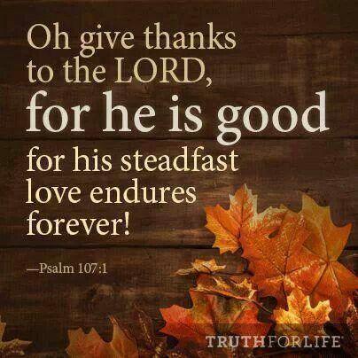 "thelordismylightandmysalvation: "" Psalm 107:1 """