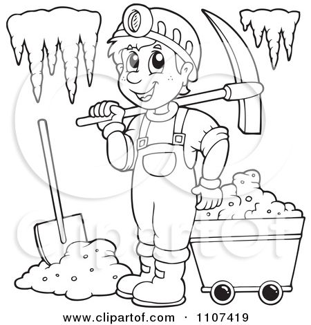 Clipart Outlined Happy Miner In A Cave Royalty Free