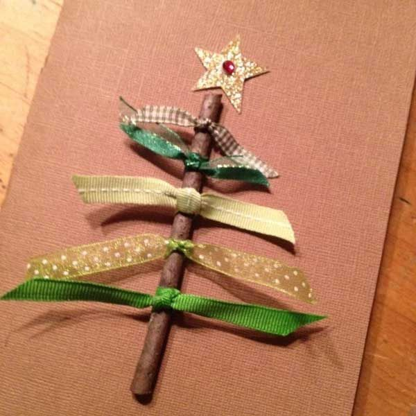 DIY Christmas cards from a twig and some leftover ribbon! gilbertrecycles.org pinterest.com/gilbertDIY