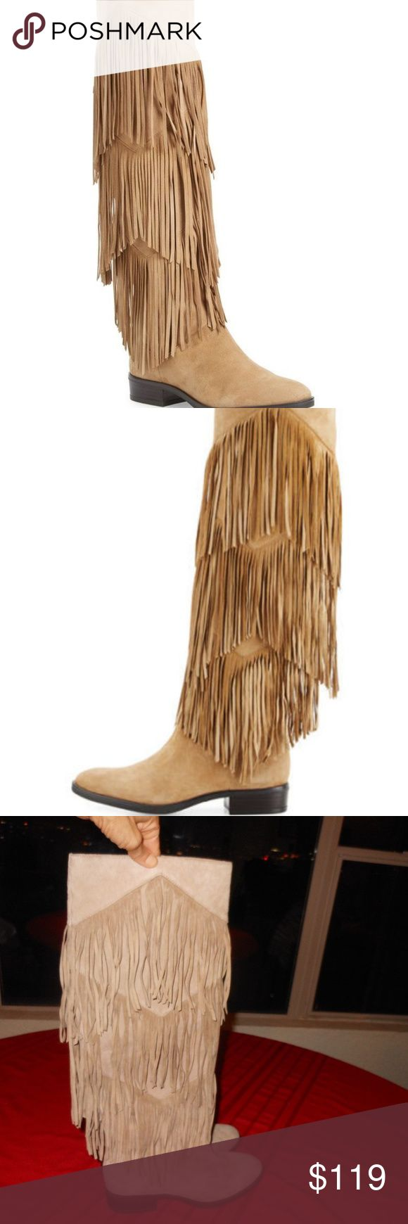 """SAM EDLEMAN """"Pendra"""" Fringe Boots!! 7.5 NEW--NO BOX--SLIGHT SHELF WEAR--POPULAR Boots From SAM EDELMAN!!  LOVE The Layered Fringe Detail-Pull On style with ***1 1/4 Inch Heel and 18 inch Shaft*****NICE! Sam Edleman Shoes Heeled Boots"""
