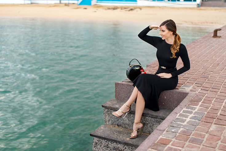 Black midi mermaid dress and gold sandals in the Corralejo harbour today on my blog: http://larisacostea.com/2017/02/puerto-de-corralejo/
