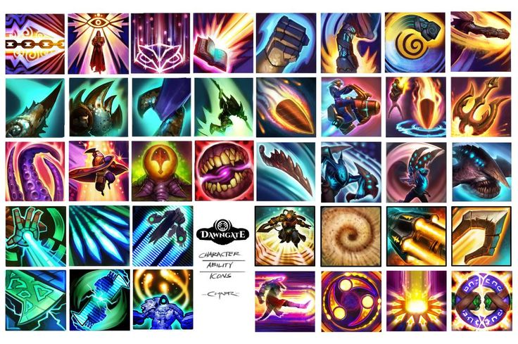 """""""some character ability #icons for @TheDawngate #moba #art"""""""