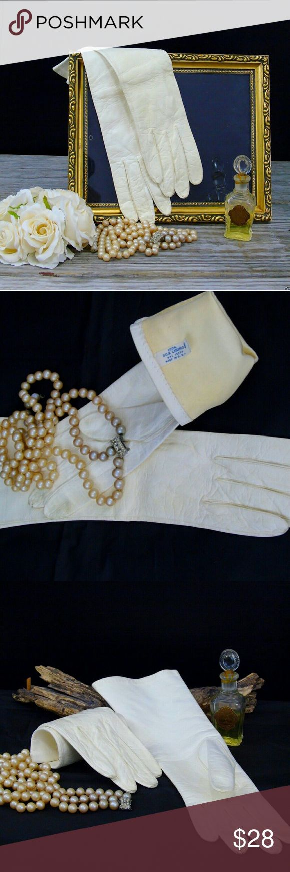 "Long  Cream Gloves Vintage Kidskin Leather Long  Cream Gloves Kidskin Leather  .Vintage 1950's Women's Gloves .13.5"" Long Tagged Size 8 (runs a bit smaller) Vintage  Accessories Gloves & Mittens"
