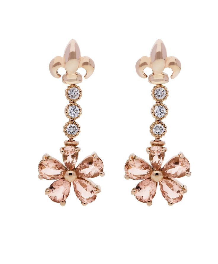Morganite, diamond and 18 ct gold Love Me Daisy Earrings – Jenna Clifford