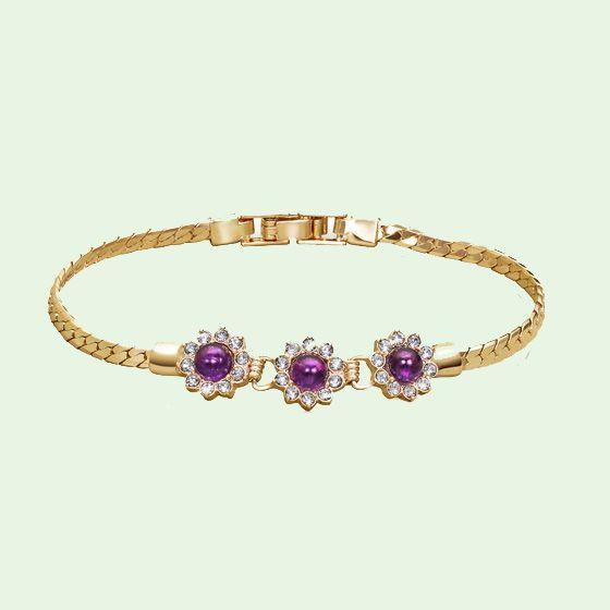 Genuine Amethyst Cabochon Bracelet