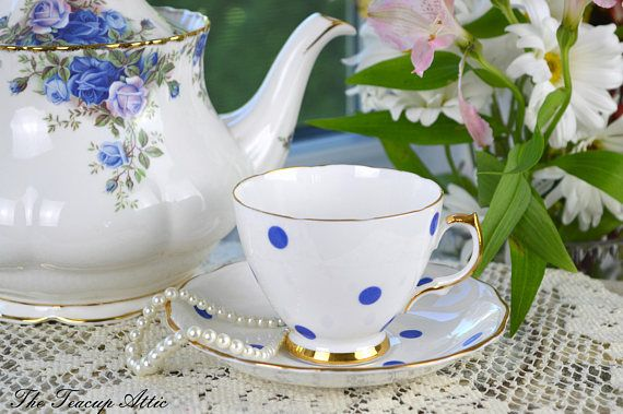 Royal Vale White Teacup and Saucer With Blue Polka Dots