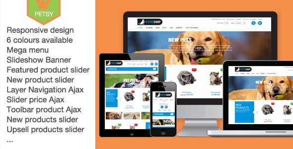If you sell pet products and want to enlarge the number of your customers, you've come to the right place.The Petsy shop template is a Magento theme designed for pet shop.Look at these cute large banners with text transition effect. They won't leave pet owners indifferent. Template's typography is also charming. Fonts create a trustworthy atmosphere. The items are offered in five columns and supplied with all details necessary for the purchase.