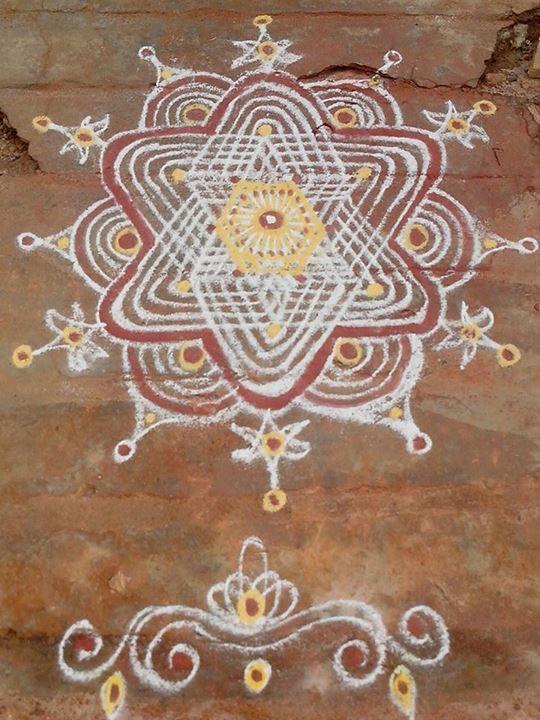 Four lined kolam star shaped kolams the south indian for Floor rangoli design