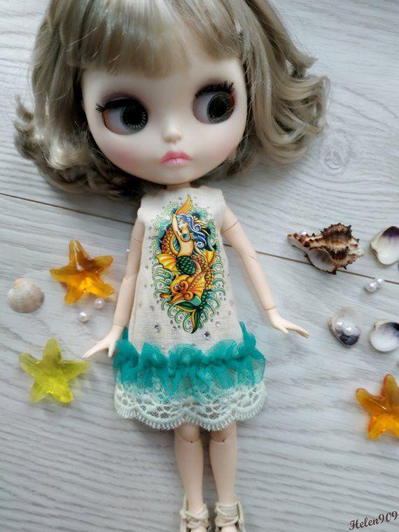mini dress cat  for Neo Blythe Ruruko Elfdoll Hana,Skipper Blythe licca