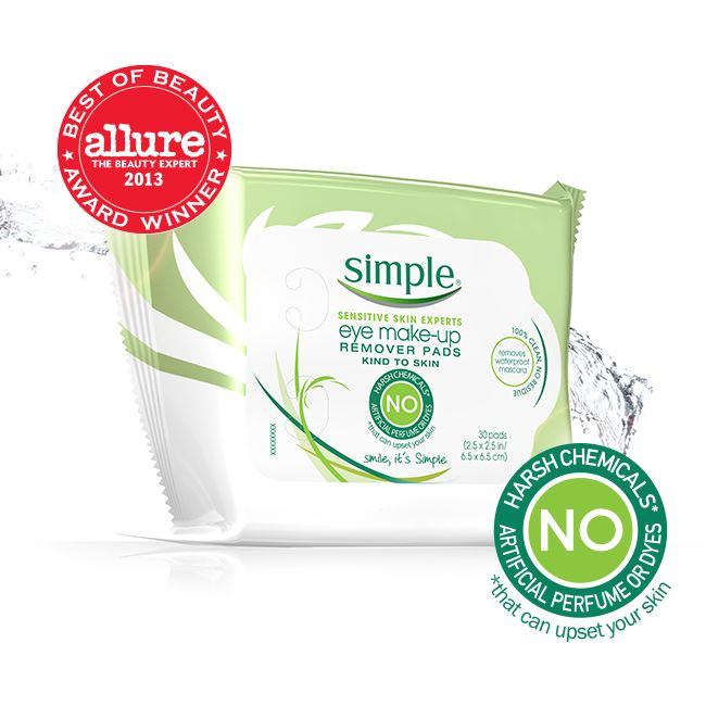 Simple Eye Make-Up Remover Pads are tough on mascara (even waterproof mascara) while still being gentle on your lashes and eyes. They are even suitable for contact lens wearers with our dermatologically and ophthalmological tested formula. ★★★☆☆
