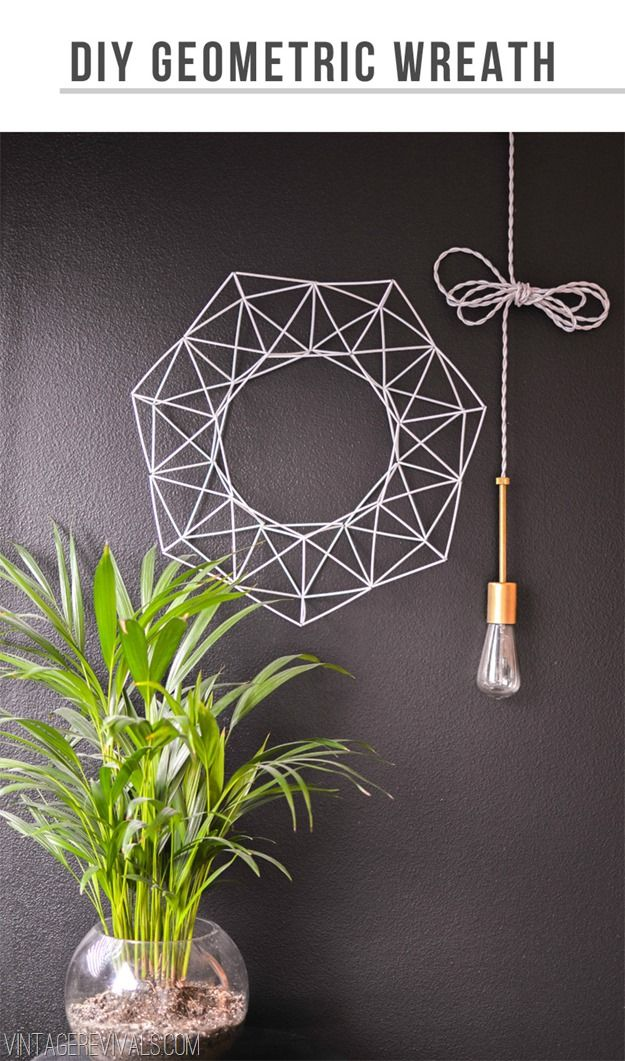 DIY Geometric Wreath Tutorial (made from inexpensive coffee straws!!)