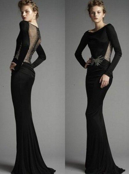 2015 Siyah Dekolte Elbise Modelleri