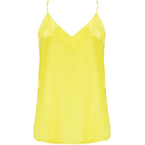 Lollys Laundry Harbo Cami Top - Yellow ($69) ❤ liked on Polyvore featuring tops, yellow, cami tank, strappy tank top, yellow tank top, evening tops and cami tank top
