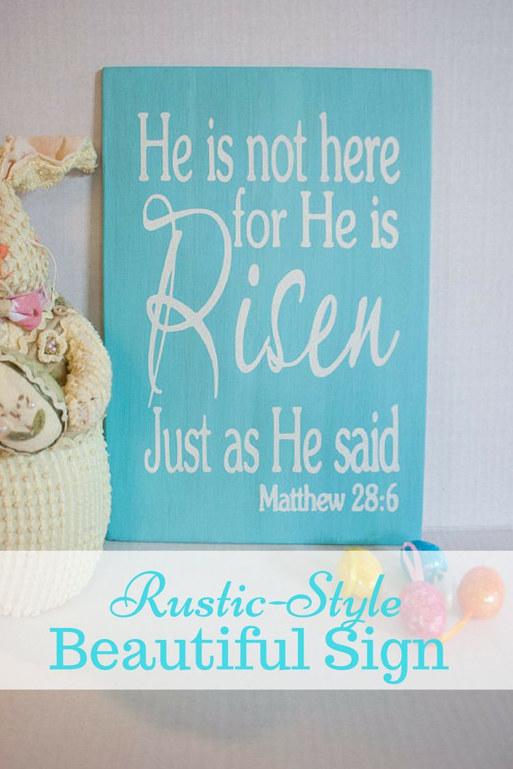 Beautiful picture for Easter in your home. My #farmhouse dream! He is Not Here for He is Risen- Easter Sign- Spring Wall Sign- Rustic Style- Easter Decoration- Bible Quote- Scripture #bible #home #ad #rusticsigns #easter #wallart #walldesigns #biblicalquotes