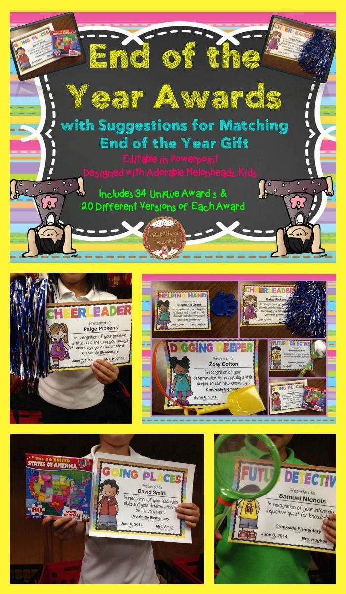 $ Looking for a way to make your end of the year awards more personal and meaningful….not to mention FUN? Look no further! This download includes over 30 uniquely different awards. For each award, you can choose between 20 different (10 boys & 10 girls) adorable kids exclusively designed by Melonheadz. Each award is designed to coordinate with a matching end of the year gift that can be purchased from Dollar Tree or another Dollar Store. #43
