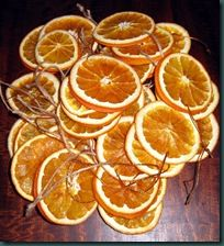 Dried orange slices strung for the Christmas Tree