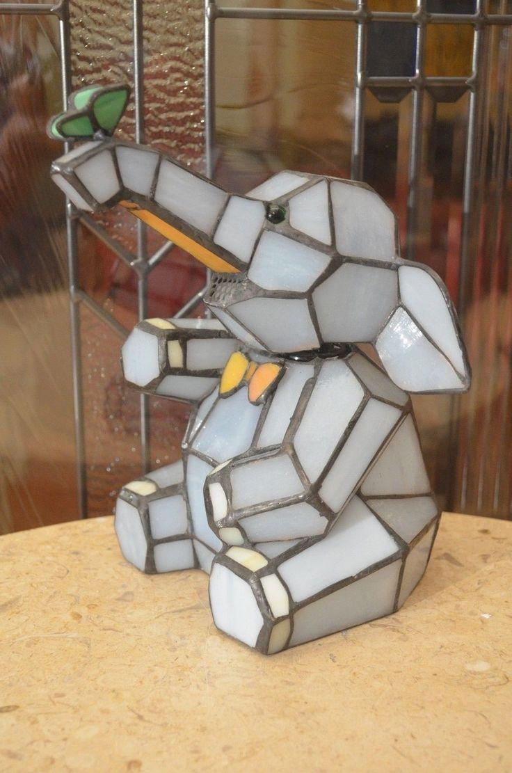 Stacked elephant lamp - Stain Glass Bobble Head Blue Elephant Design Lamp Elephant