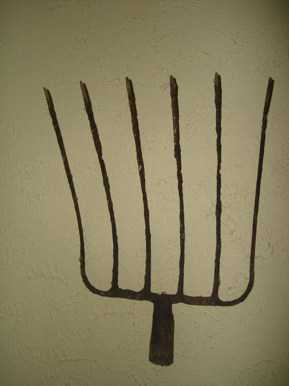 french antique old iron  pitch fork top  large  by funknjunkinc, $15.00