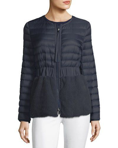 eda8788c2533 MONCLER HELLOLITE ZIP-FRONT QUILTED PUFFER COAT WITH MINK FUR ...