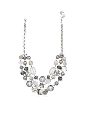 Jules B Women Mystified Silver Tone Three- Row Glass Bead Necklace - Grey - One Size