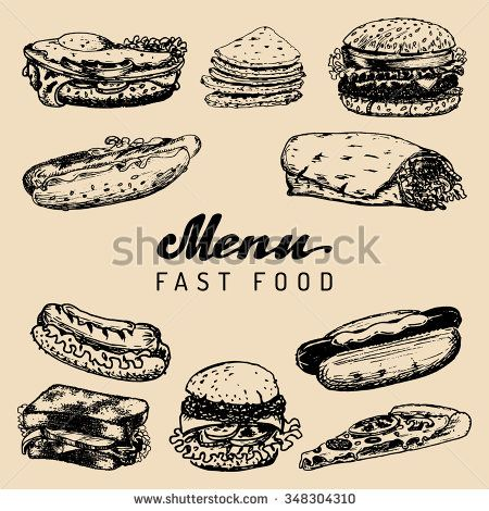 Fast food menu vector. Burgers, hot dogs, sandwiches, dinners, burritos, tacos, pizzas, kebabs illustrations. Vintage hand drawn fast food menu.