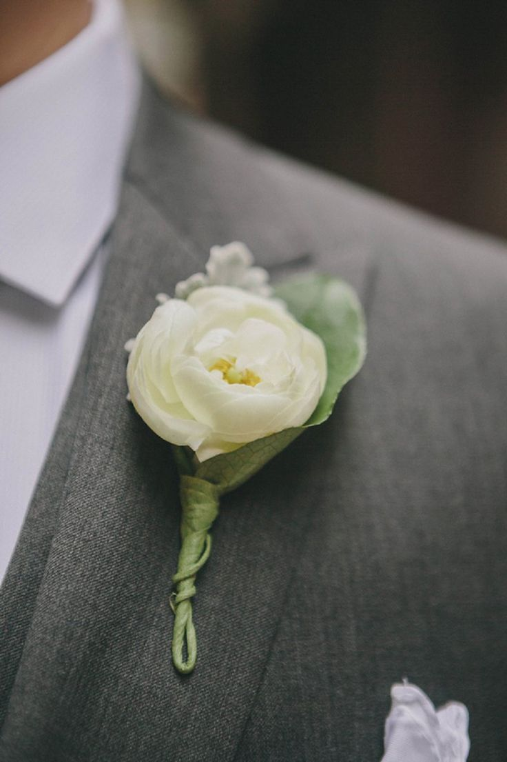 White ranunculus boutonniere, http://theeverylastdetail.com/2013/10/07/pink-white-industrial-chic-chicago-wedding/