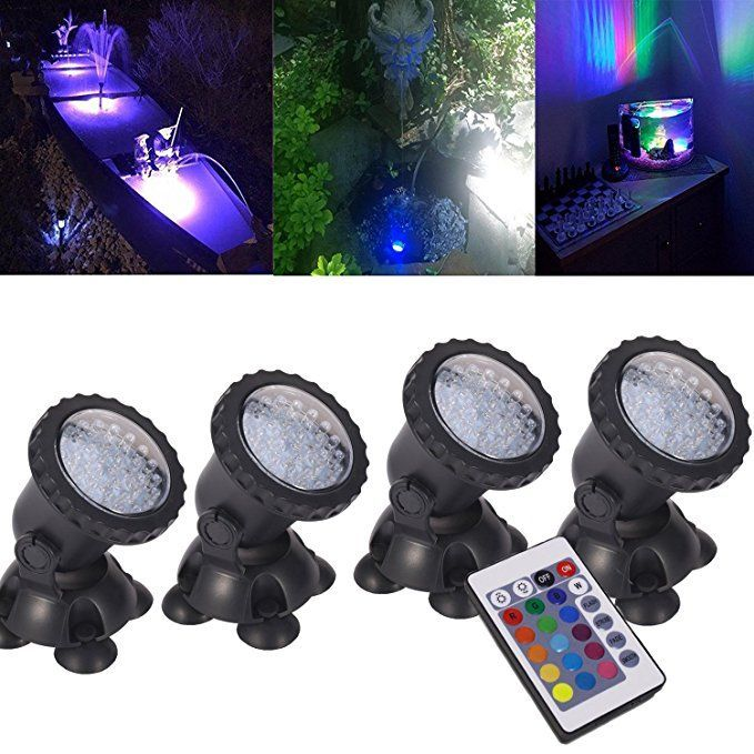 SUBMERSIBLE 4 LED POND LIGHT SET FOR UNDERWATER FOUNTAIN FISH POND WATER GARDEN