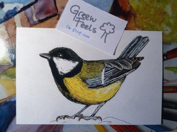 Cartolina o biglietto con uccellino fatto a mano di GreenFeels