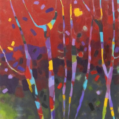 'FIERY NIGHT', original artwork, oil painting, red, abstract, trees, colour, art, canadian painter