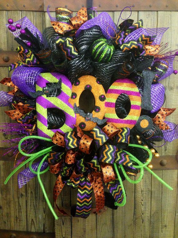 boo halloween mesh wreath for pop of color on halloween doors love the bright striped boo