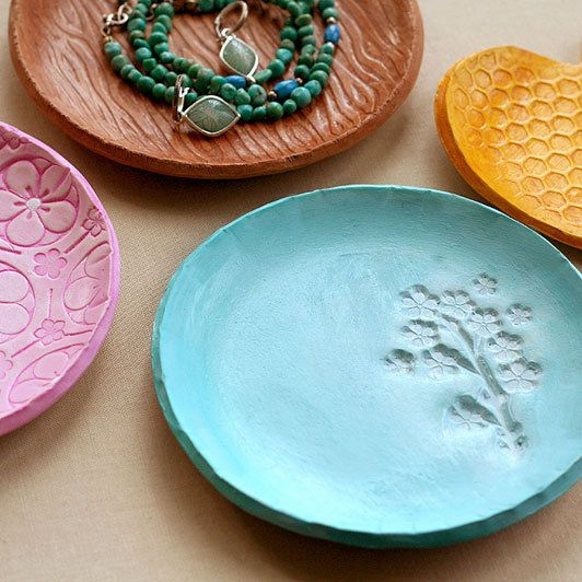 Sculpey Jewelry Dish using texture plates and the new rubber stamp -- search for Homemade Polymer Clay