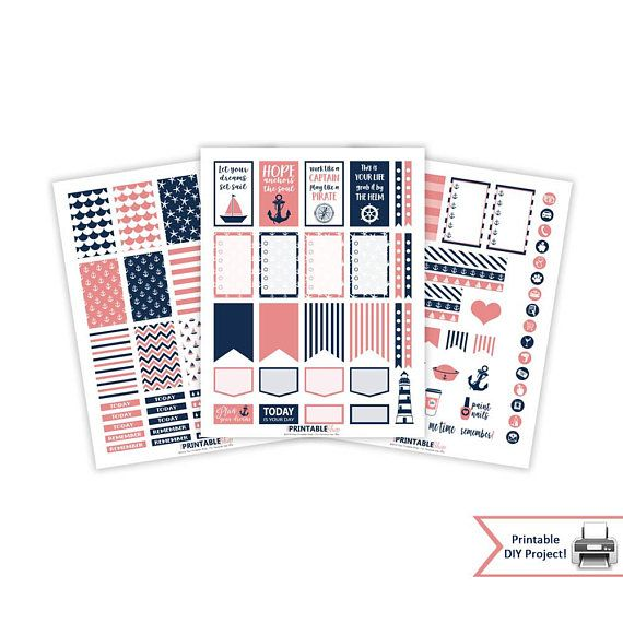 Printable Nautical Planner Stickers for Classic Happy Planner