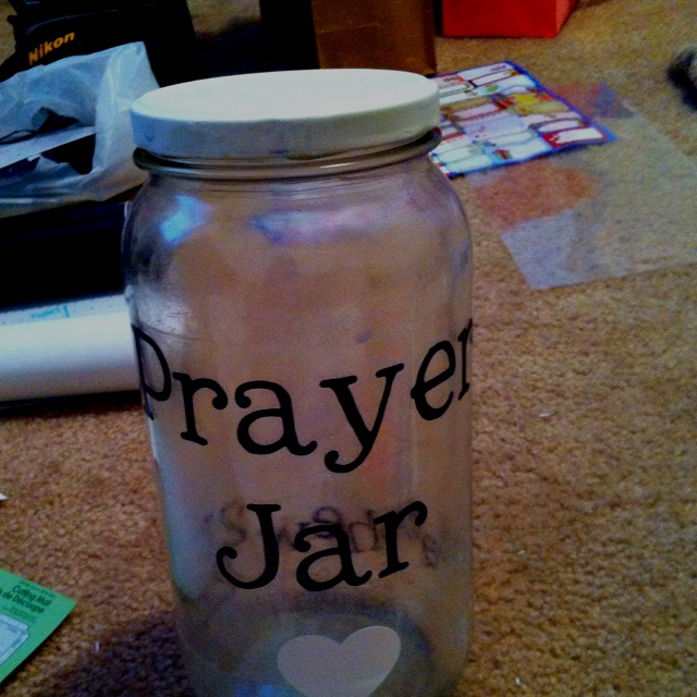 Prayer Jar made for a girl in bible study! Added Matthew 21:22 on the back side for inspiration! Hope she loves it :)