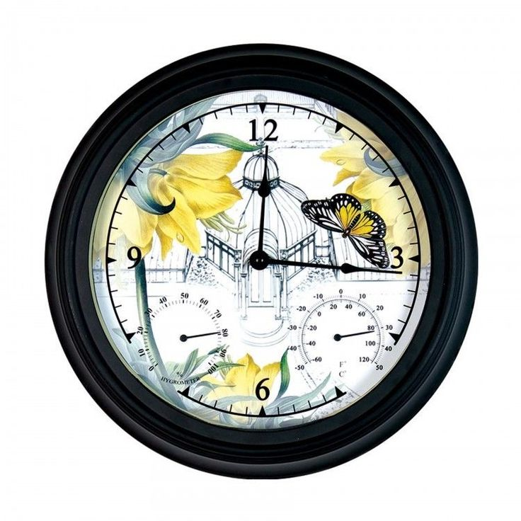 """Outdoor #Wall #Clock #Humidity Hygrometer #Thermometer Patio Pool #Decor Round 14"""" #Exhart #Contemporary #ShoppingRay #DanAnnStore"""