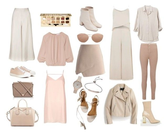 """""""Nude Mood Board - http://kellyplatts.blogspot.co.uk/"""" by keliseblog ❤ liked on Polyvore featuring J.Crew, Zara, CO, Public Desire, Topshop, Givenchy, Prada, Alexander Wang, Chicwish and River Island"""